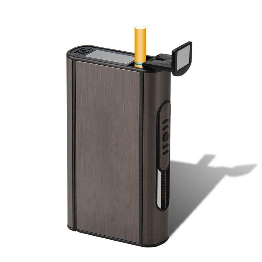 PiniceCore Cigarrillos 1x Negro autom/ático de la Caja Caja de Metal a Prueba de Viento de Aluminio Portable del sostenedor AlloyEjection Masculino Gadgets 10Pcs Capacidad Cigarrillos