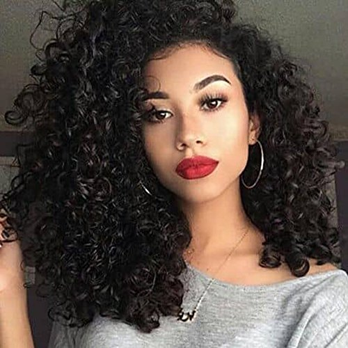 Ugeat 22'' Kinky Curly Front Lace Wigs in Brazilian Hair With Combs And Stramps For Short Hair 130% Density Salon Quality 100% Natural Waving Hair Extensions For Black Women 190g/set by Ugeat