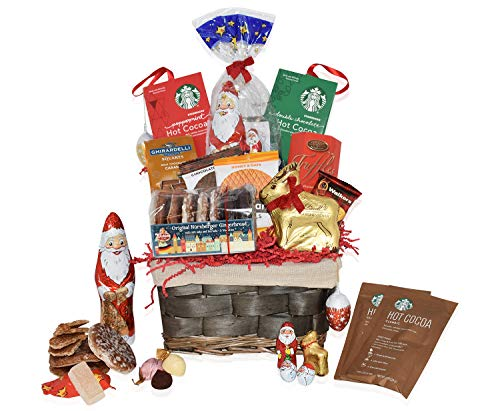Christmas Basket - Lindt Reeinder, Starbucks, Ghirardelli, Walkers, Santa, Chocolate, Gourmet, Food, Holiday Gift Variety for Family, Friends, Colleagues, Office, Men, Women, Corporate Her, Mom Him ()