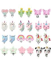 PinkSheep Clip On Earrings for Girls Kids 12 Pairs Toddler Earrings Kawaii Ladybug Unicorn Rainbow Princess Earrings Girl Gift