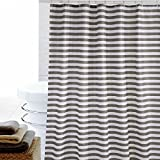 Eforgift Pastoral Subtle Cross Striped Shower Curtain Mildew Proof Water Resistant Fabric Tough Durable Stall Curtain Machine Washable with Anti-Rust Metal Grommets, Gray on White, 60 by 72-inch