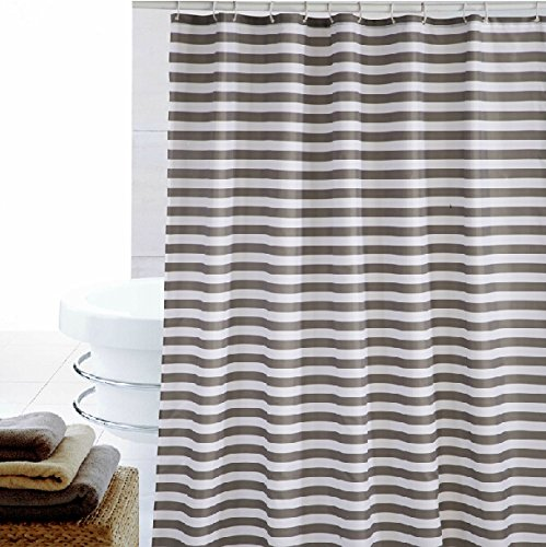 Eforgift Shabby Chic Stripes Design Bathroom Curtain Anti-Mildew Repel Water Polyester Machine Washable, Bright Gray White Curtain for Shower Stain Proof with Rust Resistant Metal Grommets, 72