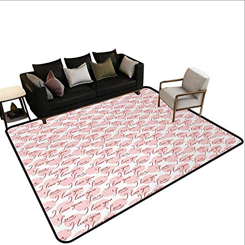 Outdoor Rugs I Love You,Stylized Hand Lettering Love Expressing Phrase on Big Pastel Color Spots,Blush Red White,for Living Room Bedrooms Kids Nursery Home Decor 5'x 8'