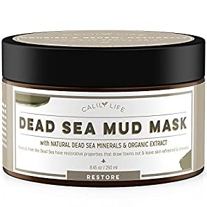 Calily Life Organic Dead Sea Mud Mask, 8.5 Oz. - Organic Deep Skin Cleanser - Face and Body Treatment - Eliminates Acne, Wrinkles, Cellulite - Cleanses Pores, Rejuvenates Skin for Youthful Glow