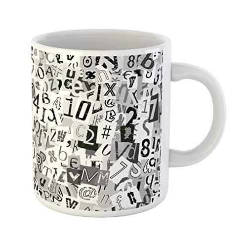 Semtomn Funny Coffee Mug Newspaper Black and White Newsprint Letters Graffiti Alphabet Artistic 11 Oz Ceramic Coffee Mugs Tea Cup Best Gift Or Souvenir