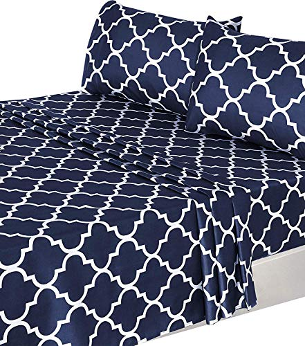 Utopia Bedding 3 Piece Bed Sheets Set (Twin, Navy) 1 Flat Sheet 1 Fitted Sheet and 1 Pillow Case - Hotel Quality Brushed Velvety Microfiber - Luxurious - Extremely -