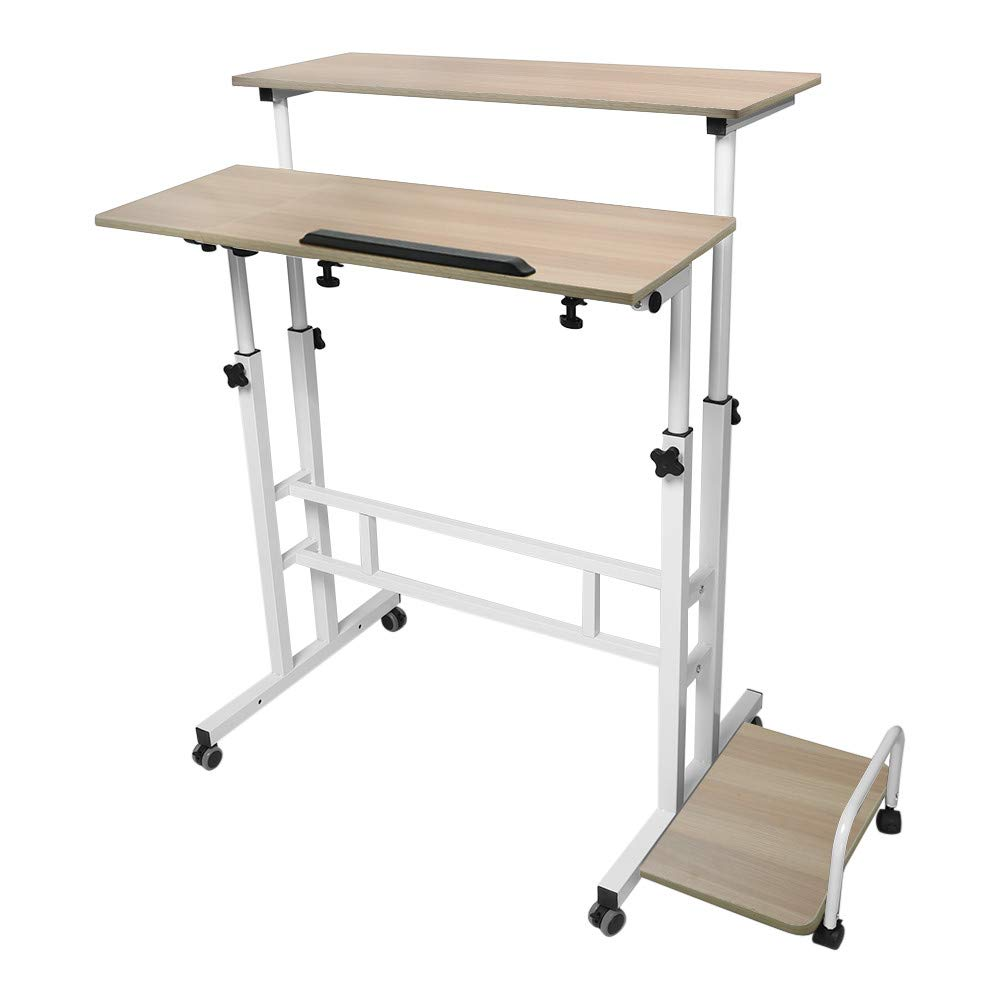Adjustable Standing Desk - Controllable Height Computer Table with Swinging Footrest Optional for Standing and Seating 2 Modes (Yellow) by Hunzed Home & Kitchen (Image #4)