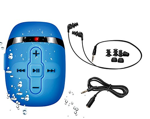 Price comparison product image 2018 NEW VERSION HIFI sound waterproof MP3 player for swimming and running, underwater headphones with short cord(3 types earbuds),  Shuffle feature