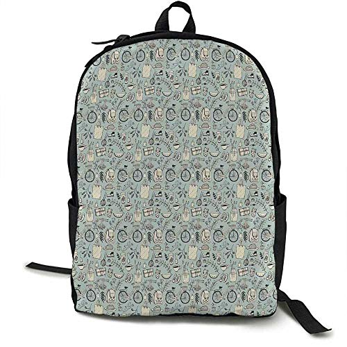 Doodle Light travel backpack Summer Good Mood Illustration with Flowers Bicycle Backpack and Food Multi-functional daily carrying 16.5 x 12.5 x 5.5 Inch Pale Almond Green Cream