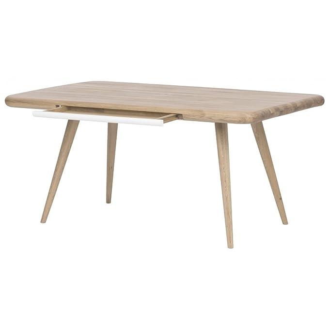 Esstisch Eiche, weiß gebeizt Tisch Esszimmertisch Designer: Amazon ...