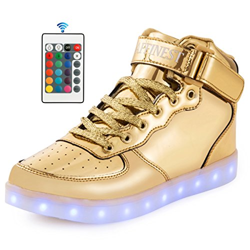 Affinest Led Light Up Schoenen Voor Heren Dames Hoge Top Usb Opladen 16 Kleuren Knipperende Fashion Sneakers Met Controle App Jongens Meisjes Goud