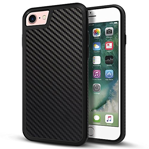 Price comparison product image iPhone 7 Case, LOEV Non-slip Slim Fit [2 in 1] iPhone 7 Cover, [Heavy Duty] [Stylish Design] Shockproof Rubber Bumper Dual Layer Protective Case for Apple iPhone 7 4.7 inch - Carbon Fiber Black