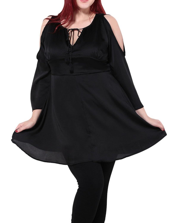 Bigood Plus Size Schulterfrei Lange Armel Minikleid Sommerkleid Cocktailkleid Schwarz