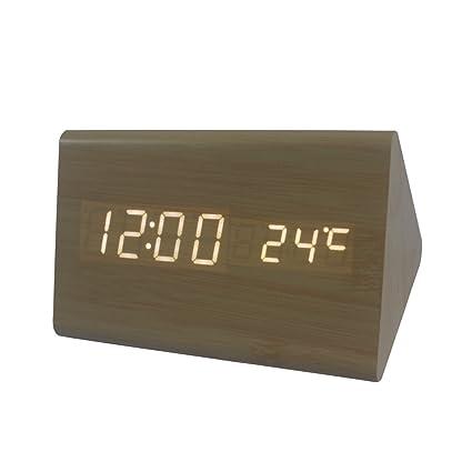 Dianoo triángulo de madera digital alarma reloj, madera grano LED ligero alarma reloj con hora