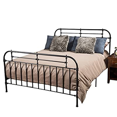 """Christopher Knight Home Yucatan Queen Charcoal Iron Bed - 84 """" L x 64"""" W x 47"""" H Constructed with iron metal in a charcoal finish Includes one queen sized bed frame - bedroom-furniture, bedroom, bed-frames - 51 ysHnDmvL. SS400  -"""