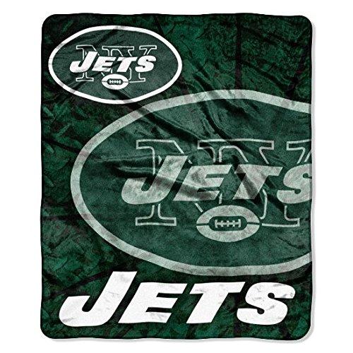 NFL New York Jets Raschel Plush Throw Blanket, Roll Out Design ()
