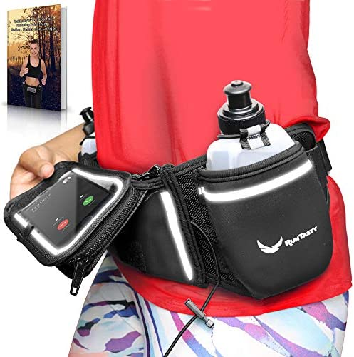 Runtasty Voted No.1 Hydration Belt Winners Running Fuel Belt – Includes Accessories 2 BPA Free Water Bottles Runners Ebook – Fits Any iPhone – w Touchscreen Cover – No Bounce Fit and More