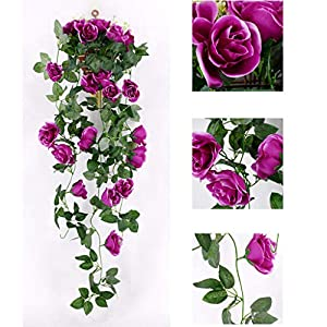 "Tuscom 20PCs Artificial Rose Flower Rattan Green Leaf,Non-Toxic Vine Garland,95cm/37.4""for Home Office Garden Flower Wedding Decor (Purple) 13"