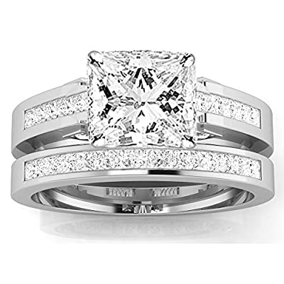 1.2 Ctw 14K White Gold GIA Certified Princess Cut Channel Set Princess Cut Bridal Set Diamond Engagement Ring Wedding Band, 0.5 Ct D-E SI1-SI2 Center