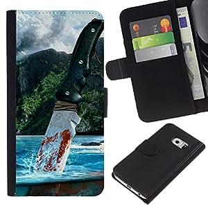Muy lejos - la tarjeta de Crédito Slots PU Funda de cuero Monedero caso cubierta de piel Para Samsung Galaxy S6 EDGE (NOT S6)