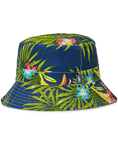 - Polo Ralph Lauren Mens Woven Floral Print Bucket Hat Navy S/M