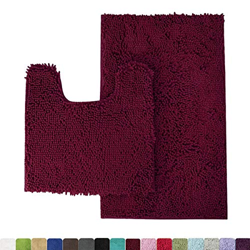 Burgundy Bath - MAYSHINE Bathroom Rug Toilet Sets and Shaggy Non Slip Machine Washable Soft Microfiber Bath Contour mat (Burgundy,32