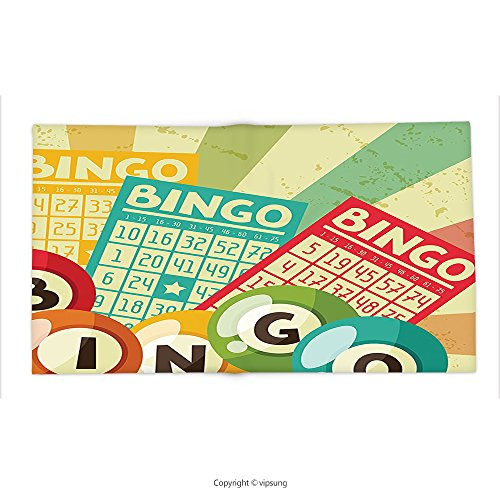 Custom printed Throw Blanket with Vintage Decor Bingo Game with Ball and Cards Pop Art Stylized Lottery Hobby Celebration Themees Multi Super soft and Cozy Fleece Blanket by vipsung