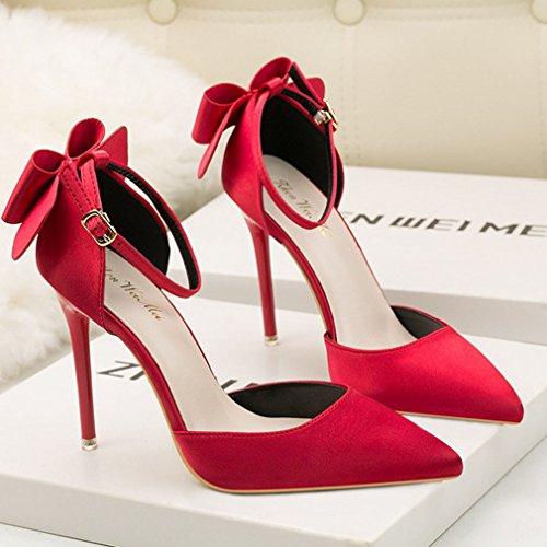 Donna Punta Tacco Spillo Caviglia Pompe Cinturino Xianshu Scarpette con Rosso con alla Scarpe Alto dPwzBn