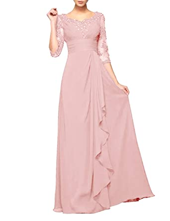 94a438e6ed73 Chiffon Mother of The Bride Dresses Long Pleated with Beaded Half Sleeve  Blush US 2