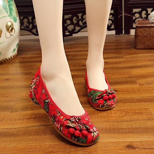 wedge Women Shoes Red Embroidered Women wedge fqqYwPU
