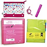 Yoobi Pink School Supply Bundle of 5 Items -1 Inch D-Ring Binder, Binder Zip Case, Eraser & Colorful 8 Tab Index Dividers