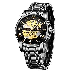 Men's Watch Black Luxury Mechanical Stainless Steel Skeleton Waterproof Automatic Self-Winding Roman Numerals Diamond…