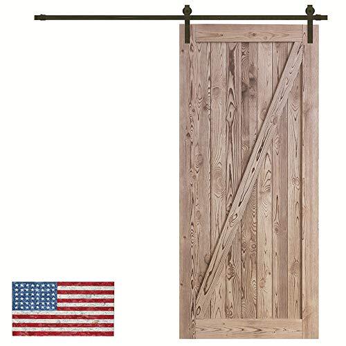 Panel Interior Oak Door - Made in U.S. Heavy Duty Sturdy Sliding Barn Door Slab - Unfinished Natural Solid Knotty Pine Interior Barn Wood Closet Door Panels 36 / 42inch x 84inch Fit Sliding Barn Door Hardware Kit 6.6ft / 7.2ft