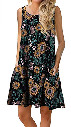 Womens Bohemian Dresses Loose Summer Cotton Semi Formal Shift Tunics Dress Casual Trapeze Beach Wear Printed Tunic Dresses for Women Black S ()