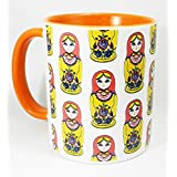Russian Doll Design Mug with orange glazed handle and inner by Half a Donkey