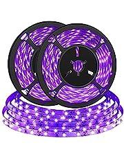 2M (2 Pack) UV LED Zwarte Lichtstrip, Bomcosy 4.5W Draagbare Zwarte UV Strip Verlichting, Paars LED strip voor Poster, Posterverlichting, Kerstmis, Halloween Party Decoratie, USB Powered 5V, 395nm-400nm