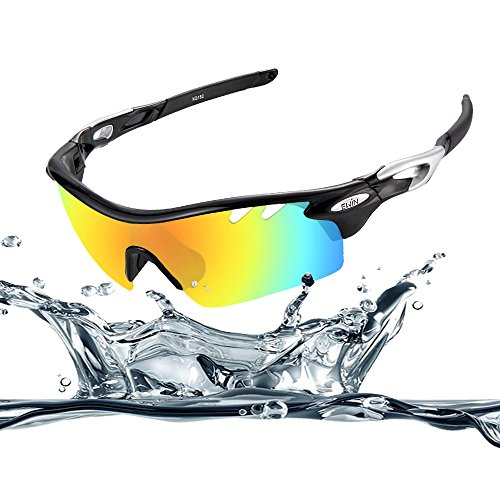 Ewin E11 Polarized Sports Sunglasses with 4 Interchangeable Lenses for Men Women Golf Baseball Volleyball Fishing Cycling Driving Running Glasses, TR90 Unbreakable Frame, Waterproof, Anti-fog - Glasses Volleyball