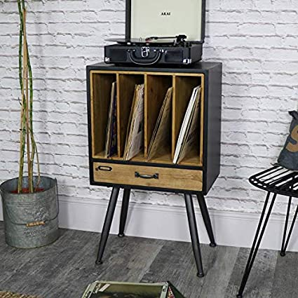 Rustic Vintage Industrial Wooden Bedside Table Box// Console Cabinet//Vinyl Record