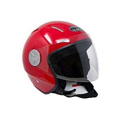 MMG 51 Motorcycle Scooter Open Face Helmet Pilot Flip Up Visor DOT, Medium, Shiny Red: Sports & Outdoors