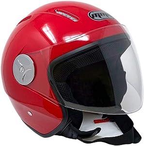 MMG 51 Motorcycle Scooter Open Face Helmet Pilot Flip Up Visor DOT - Red, Medium