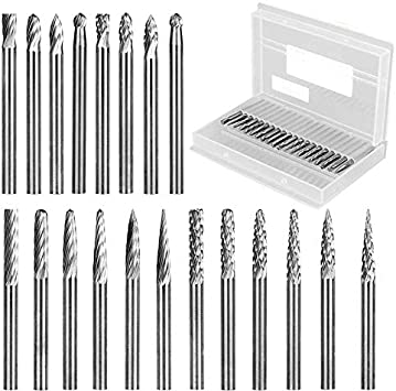 Fits Most Rotary Drill Die Grinder for Woodworking Sliver Solid Carbide Burr Set 20PCS,1//8 Inch Shank Tungsten Files Carving and Drilling Engraving