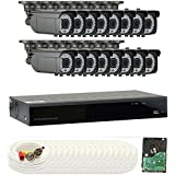 GW Security 1080P HD-CVI 16 Channel Video Security Camera System - 16 2MP Weatherproof 2.8-12mm Varifocal Zoom Bullet Cameras, 64-IR LED 180ft Night Vision, Long Transmit Range (984ft), 4TB HDD