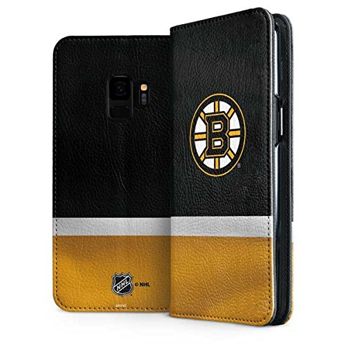 (Skinit Boston Bruins Jersey Galaxy S9 Folio Case - Officially Licensed NHL Phone Case Folio - Faux-Leather Wallet Galaxy S9 Cover)