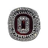 OHIO STATE UNIVERSITY BUCKEYES (Ezekiel Elliott) 2014 BCS NATIONAL CHAMPIONS Rare & Collectible Replica NCAA Football Silver Championship Ring with Cherrywood Display Box
