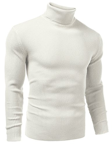 Vansop Men's Ribbed Knit Turtleneck Sweater Knitwear(White (Ribbed Knit Turtleneck Sweater)