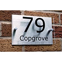 House Number Sign/Plaque Brushed Aluminium & Acrylic by UK Signs