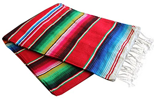 Del Mex X-large Mexican Serape Blanket Red (82' by 62')