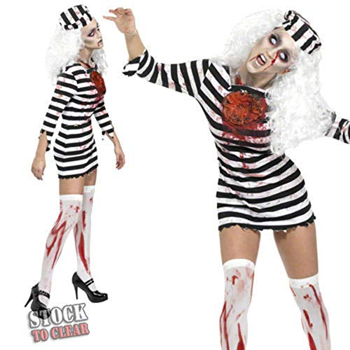 YIBEN Halloween Horror Zombie Costume, Blood Female Prisoner Plays Uniform, Carnival Ghost Makeup Party Cos Clothing,M]()
