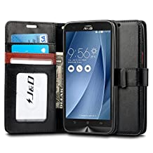 Zenfone 2 Laser Case, J&D [Wallet Stand] Zenfone 2 Laser Case Heavy Duty Protective Shock Resistant Wallet Case for Zenfone 2 Laser (Wallet Black)