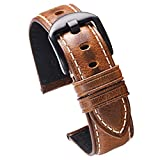 Yellow Brown Leather Watch Bands for Men 20mm with Brushed Black Buckle Genuine Calfskin